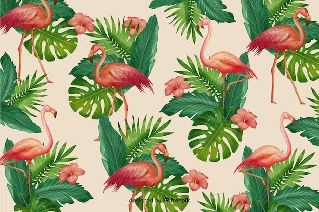 リアルな熱帯の葉と鳥の背景 無料ベクター