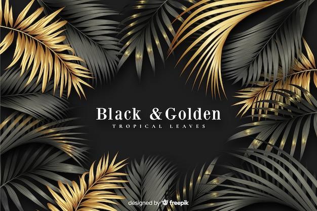 現実的な暗いと金色の葉の背景 無料ベクター