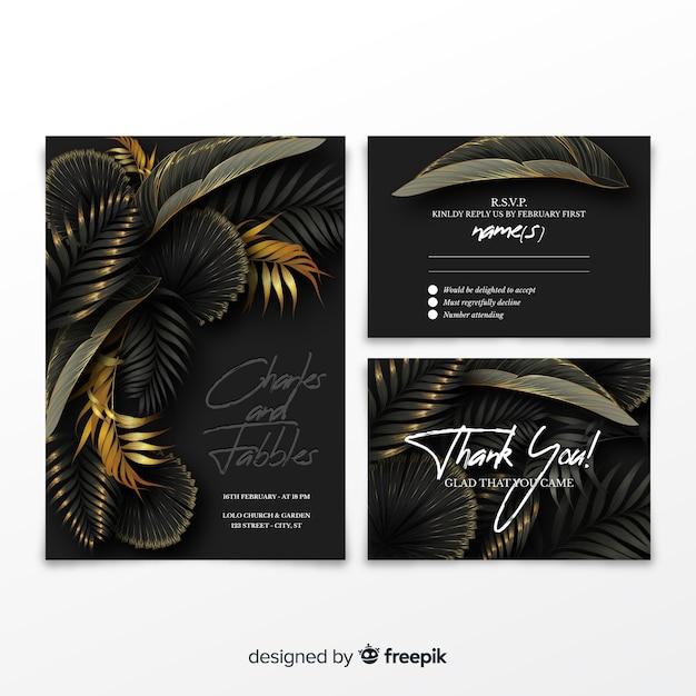 リアルなヤシの葉の結婚式の招待状のテンプレート 無料ベクター