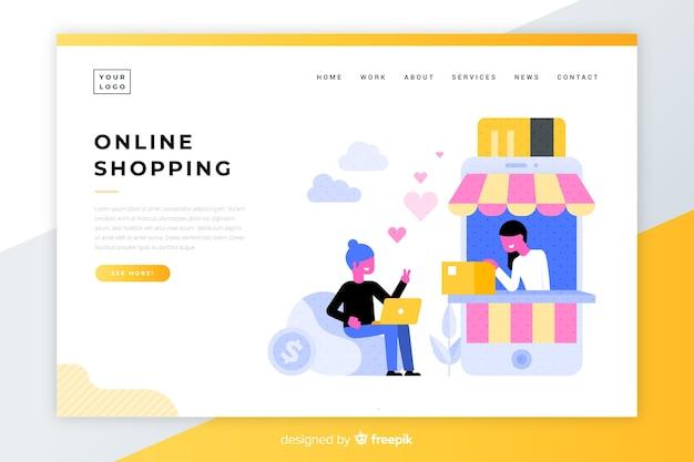 Целевая страница онлайн-покупок Бесплатные векторы