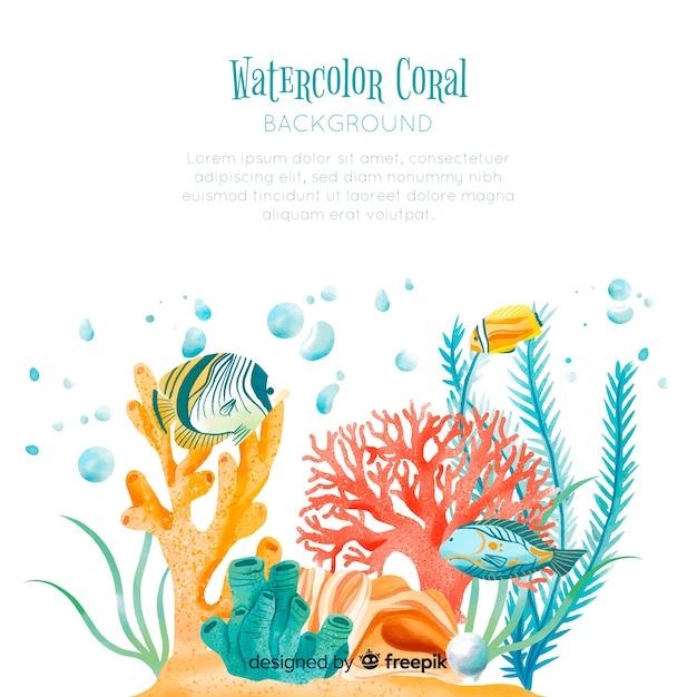水彩サンゴ背景テンプレート 無料ベクター