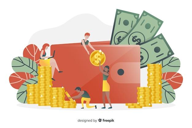 手描きのお金節約の概念の背景 無料ベクター