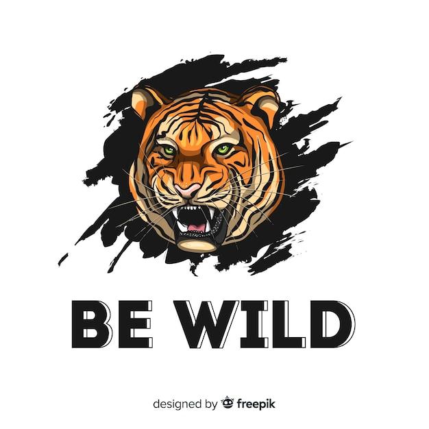 現実的な虎の背景を持つスローガン 無料ベクター
