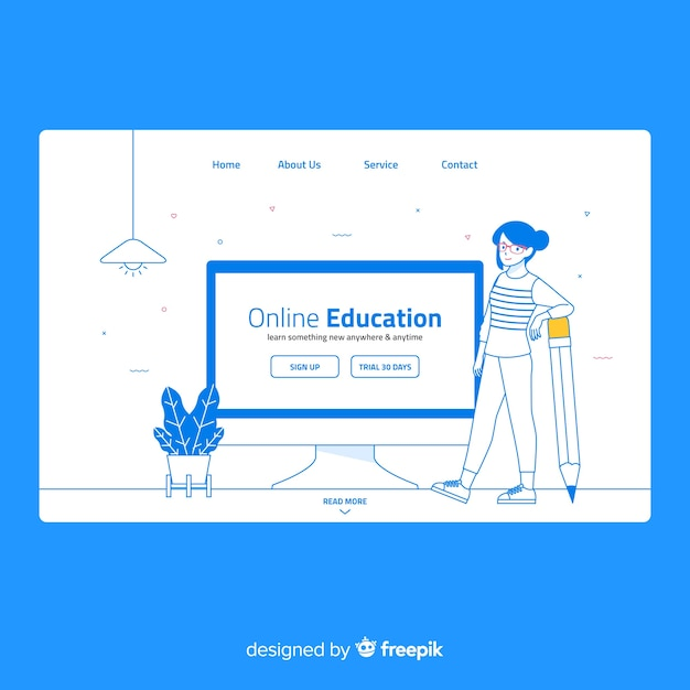 オンライン教育ランディングページ 無料ベクター