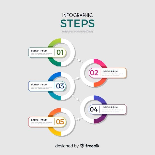 Инфографические шаги Бесплатные векторы