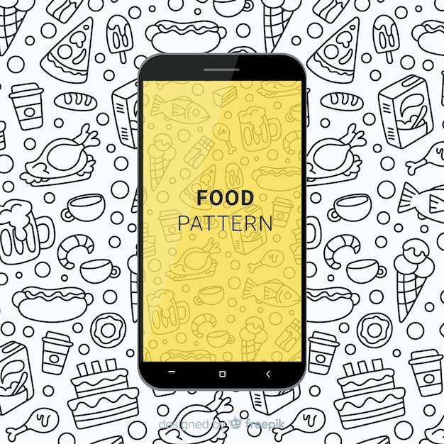 手描きの食べ物のモバイルパターン 無料ベクター