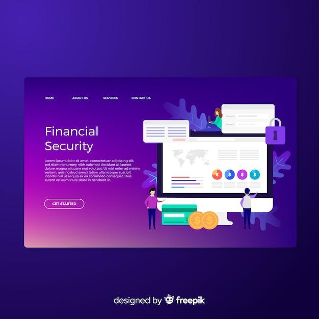 金融セキュリティのランディングページ 無料ベクター