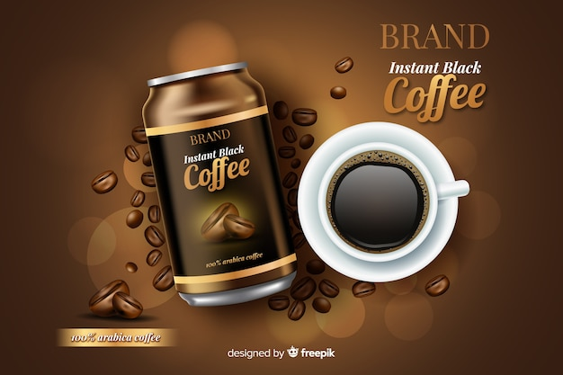 現実的なコーヒー広告 無料ベクター
