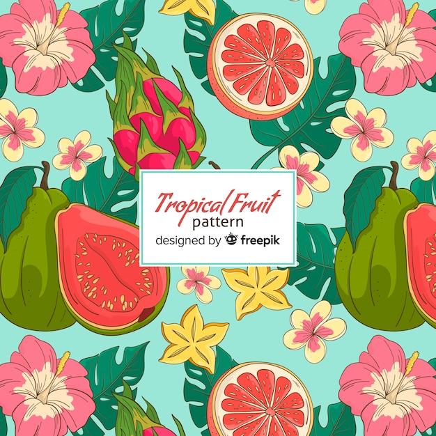 トロピカルフルーツのパターン 無料ベクター