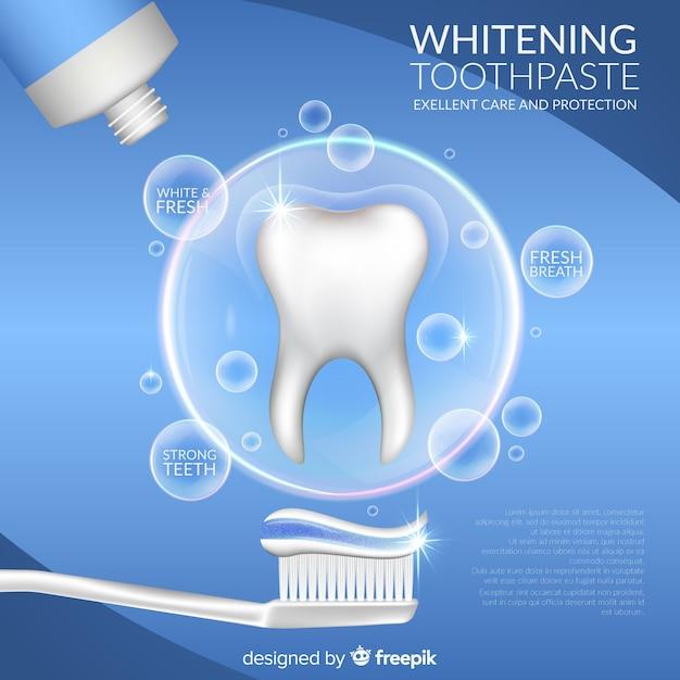 現実的な歯磨き粉の背景 無料ベクター