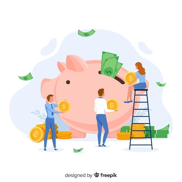 お金を節約するコンセプト 無料ベクター