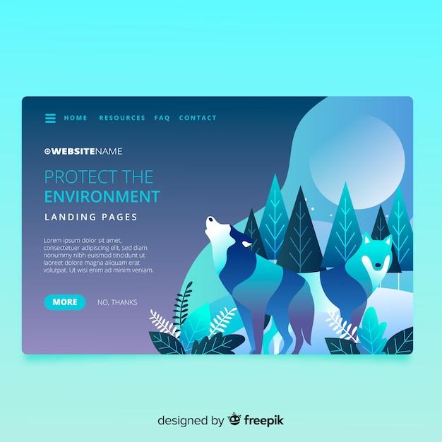 デザインのある自然のランディングページ 無料ベクター