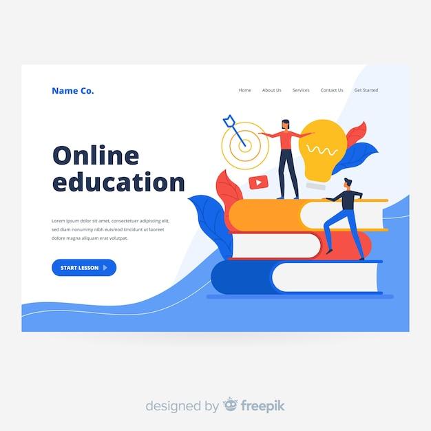 Целевая страница онлайн-обучения Бесплатные векторы