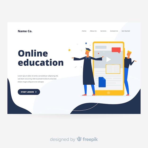 オンライン教育のランディングページ 無料ベクター