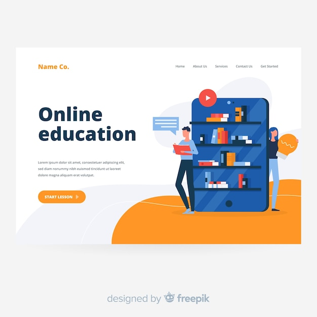 オンライン教育コンセプトのランディングページ 無料ベクター