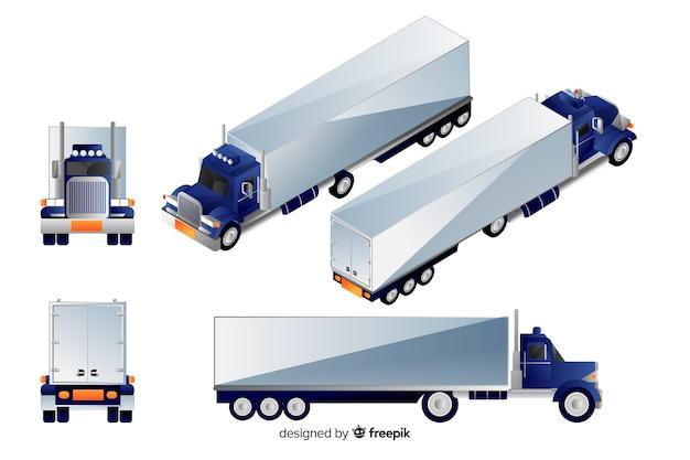 Изометрические синий грузовик в разных видах Бесплатные векторы