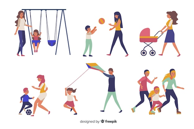 Семья занимается активным отдыхом на природе Бесплатные векторы