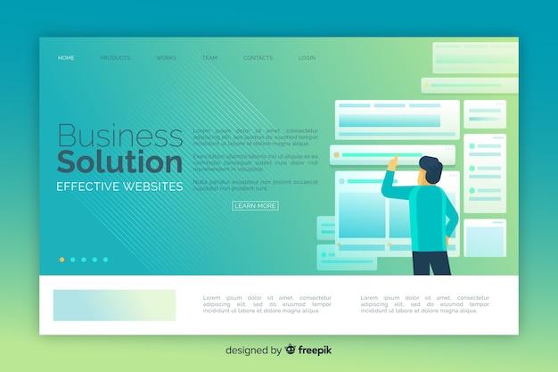 ビジネスソリューションのカラフルなランディングページ 無料ベクター