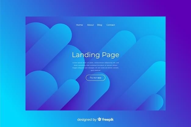 抽象的な青いランディングページ 無料ベクター