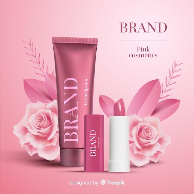 ピンクの化粧品広告 無料ベクター