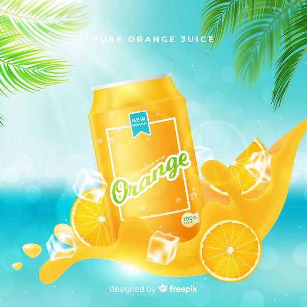 オレンジジュース広告の背景 無料ベクター