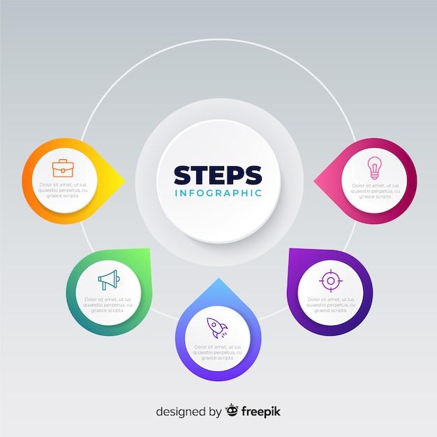 Плоские градиенты инфографики шаги Бесплатные векторы
