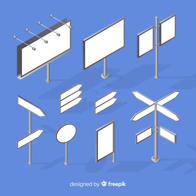 Изометрические рекламные щиты Бесплатные векторы
