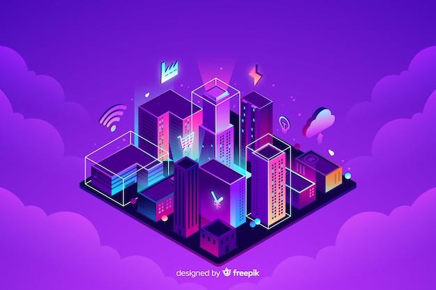 Изометрические умный город фон Бесплатные векторы