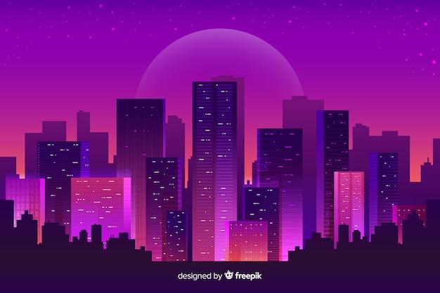 未来的な夜の街の背景 無料ベクター