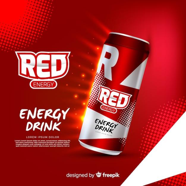 現実的なエネルギードリンク広告テンプレート 無料ベクター