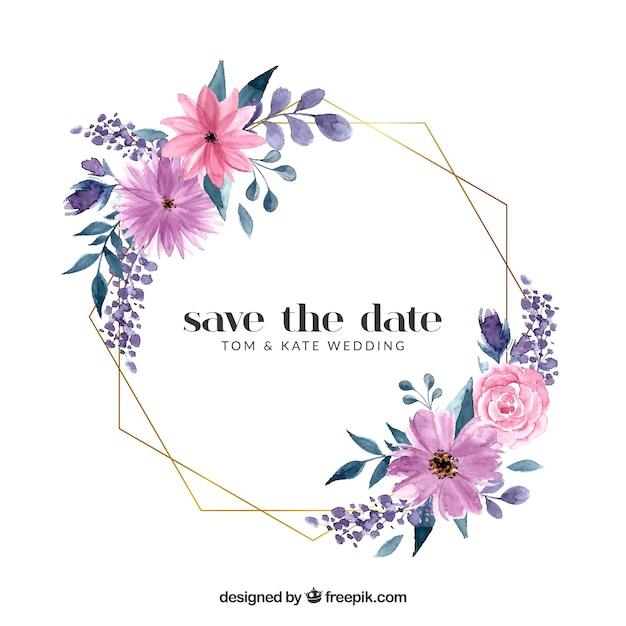 Цветочный шаблон свадебной рамки Бесплатные векторы