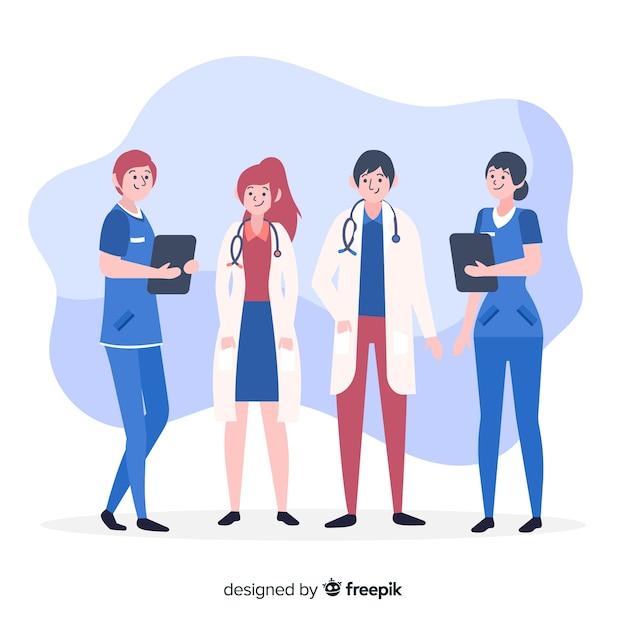 手描きの看護師チームの背景 無料ベクター