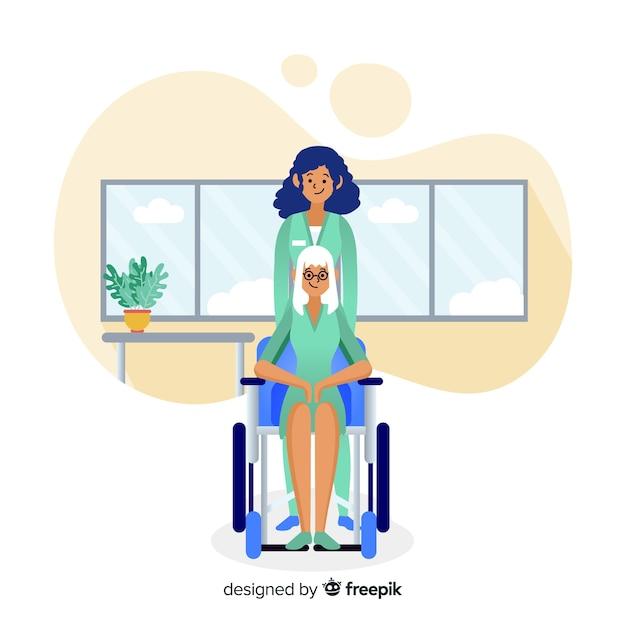 手描きの看護師が患者の背景を支援 無料ベクター