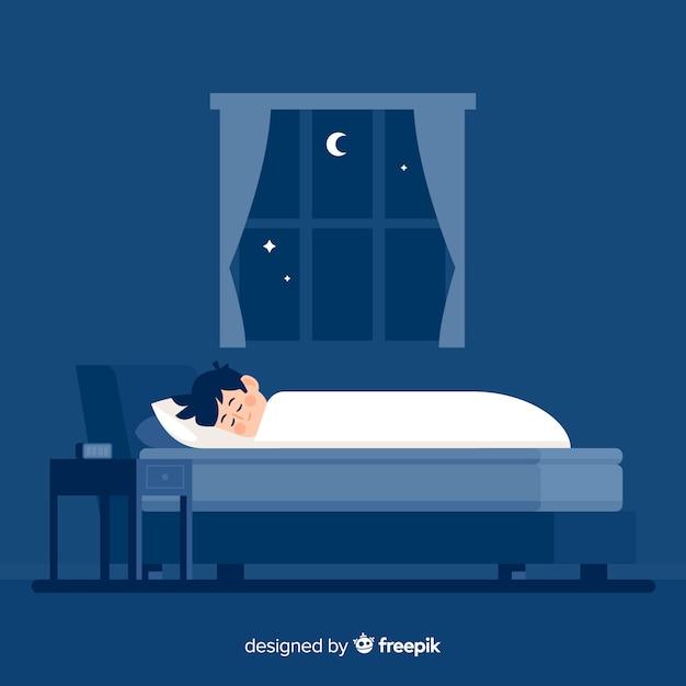平らな人がベッドのバックグラウンドで夜寝ている 無料ベクター