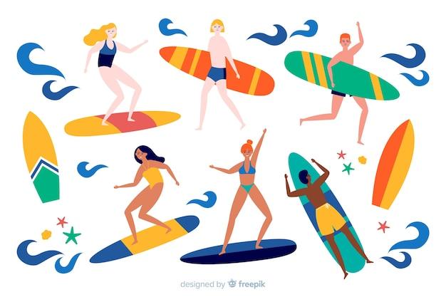 Люди наслаждаются летом Бесплатные векторы