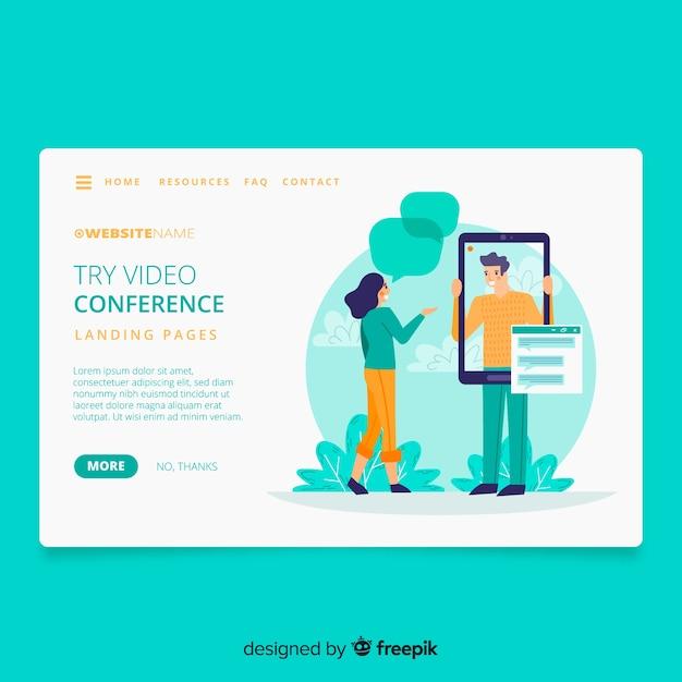 Целевая страница концепции видеоконференцсвязи Бесплатные векторы
