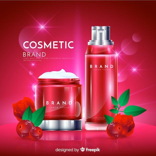 リアルな自然化粧品広告の背景 無料ベクター