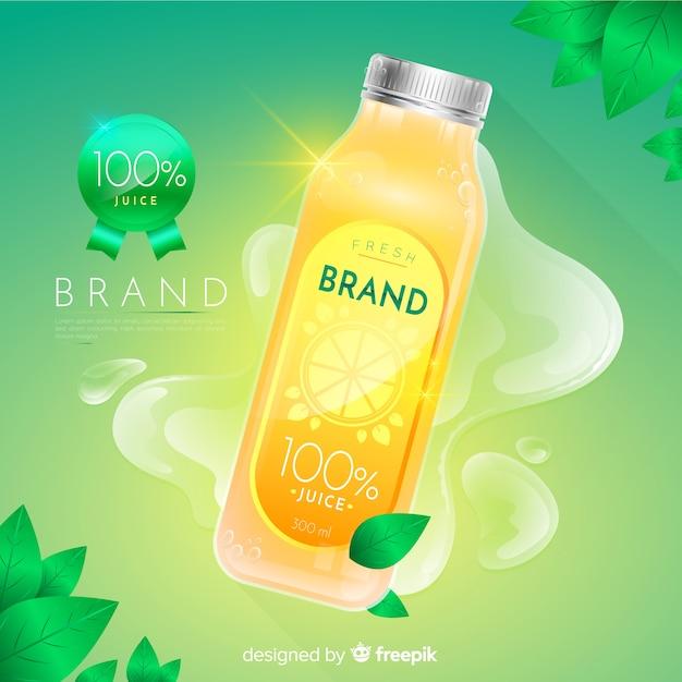 リアルな天然ジュースの広告の背景 無料ベクター