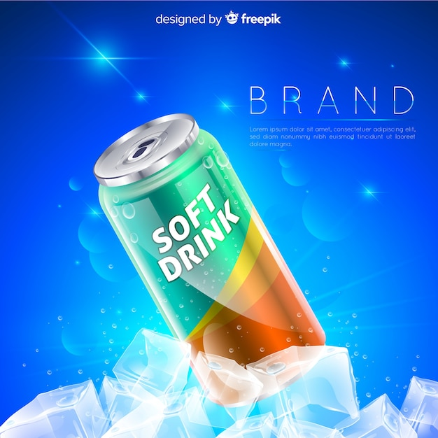 Реалистичная реклама безалкогольных напитков Бесплатные векторы