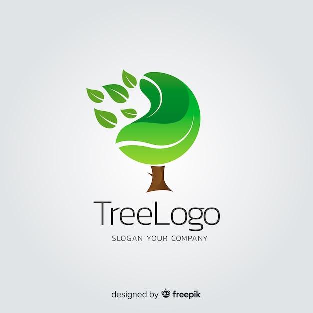 フラットグラデーション自然概念ロゴタイプ 無料ベクター