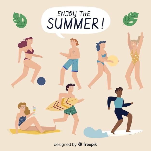夏を楽しむ人 無料ベクター