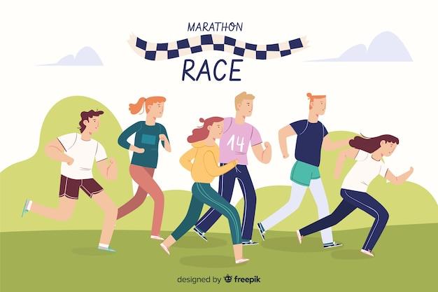 マラソンレース 無料ベクター