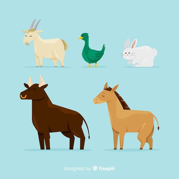 Коллекция рисованной сельскохозяйственных животных Бесплатные векторы