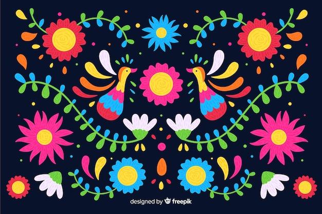 カラフルなメキシコ刺繍の背景 無料ベクター