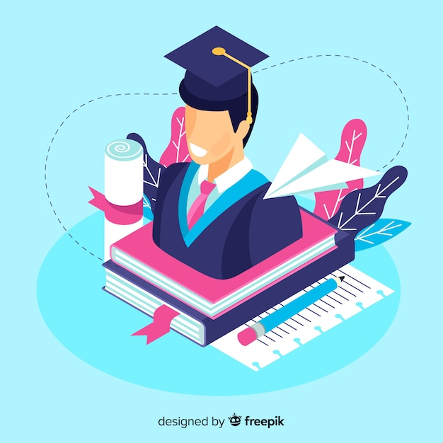 等尺性大学の概念の背景 無料ベクター