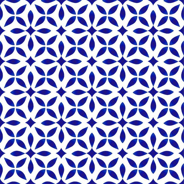 磁器模様、シームレスなモダンなセラミックデザイン、青と白の花の背景 Premiumベクター