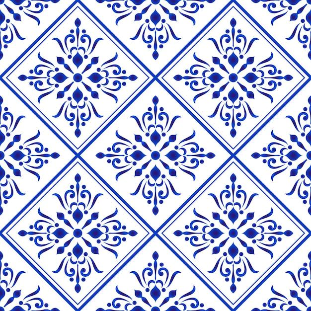 青と白のダマスカスとバロック様式のセラミックタイルパターン Premiumベクター