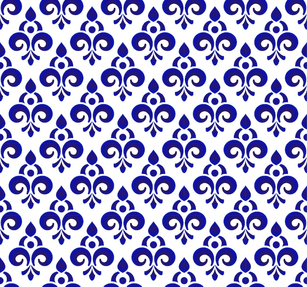 花の装飾の背景ダマスカスのスタイル、シームレスな青と白の王室のデザイン Premiumベクター