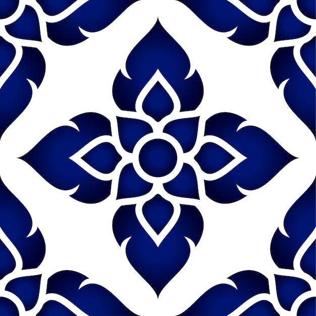 花のタイのパターン Premiumベクター