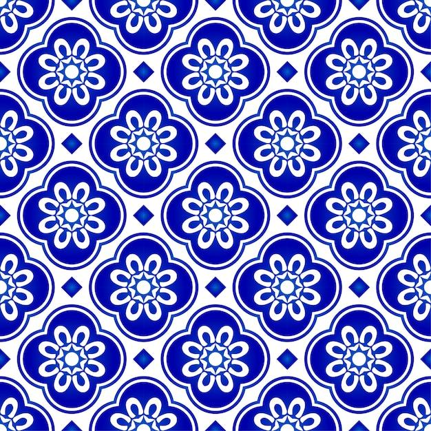 抽象的な花青パターン、青と白のタイルパターン、インディゴのシームレスな背景 Premiumベクター
